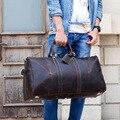 MAHEU de cuero genuino de los hombres, bolsa de viaje bolso de fin de semana bolso de hombre de piel de vaca bolso equipaje de mano hombre bolsos grandes 60cm