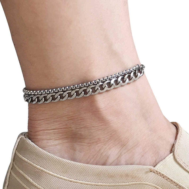 Stainless Steel Anklets For Women Beach Foot Jewelry Leg Chain Ankle Bracelets Men or Women Holiday Accessories 2019 New