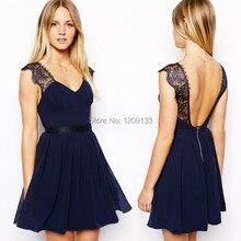 women evening dresses 2015 sexy v-neck cap sleeve open back dark blue lace dress for party over vestidos de festa longo