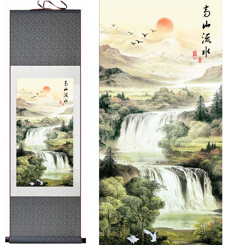 Mountain and River painting Chinese scroll painting landscape art painting home decoration painting