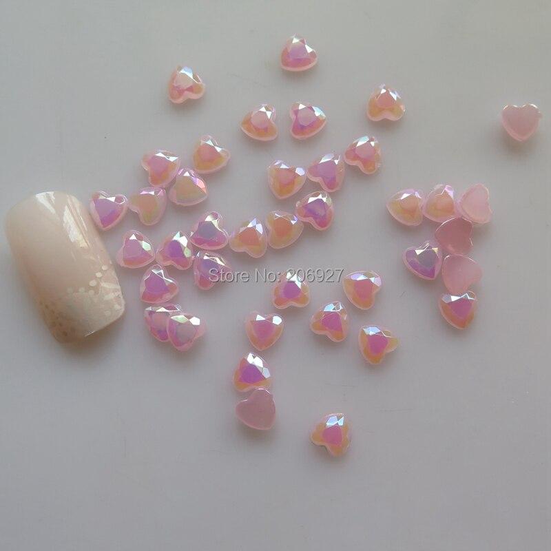100 шт милый 6 мм дизайн ногтей розовый AB сердце смолы Стразы Украшения Ногтей