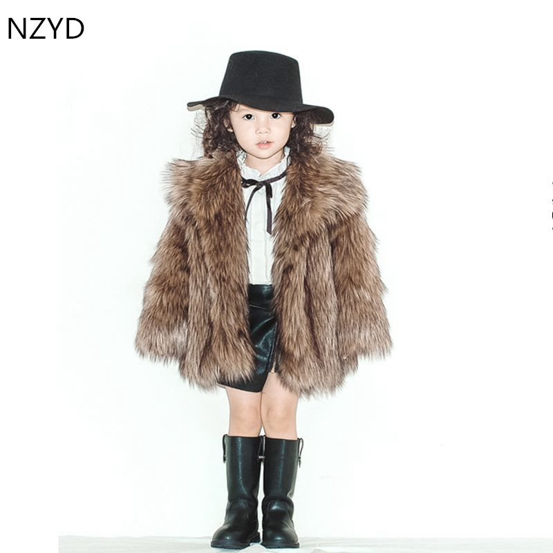 New Winter Cotton-Padded Clothes Boys Girls Fur Coat 2017 High-end Atmosphere Fur Jacket Coat Thicken Warm Kids Maomao Clothes цены