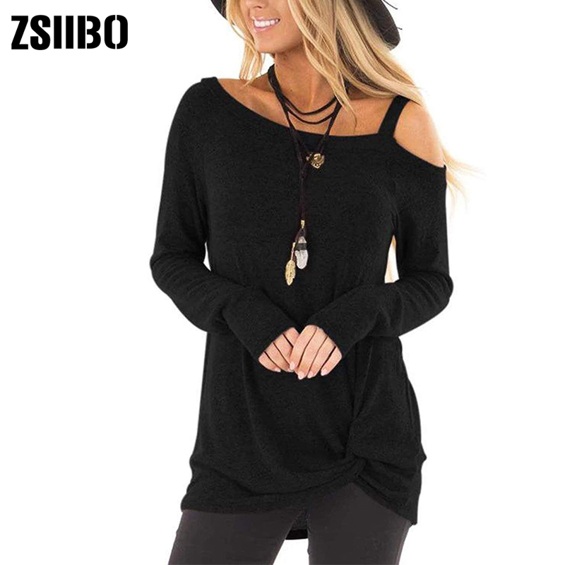 HTB1jxXZXUY1gK0jSZFMq6yWcVXab - New autumn winter t shirt Women's Cold Shoulder T-Shirt Long Sleeve Knot Twist Front Tunic Tops drop shipping NVTX173