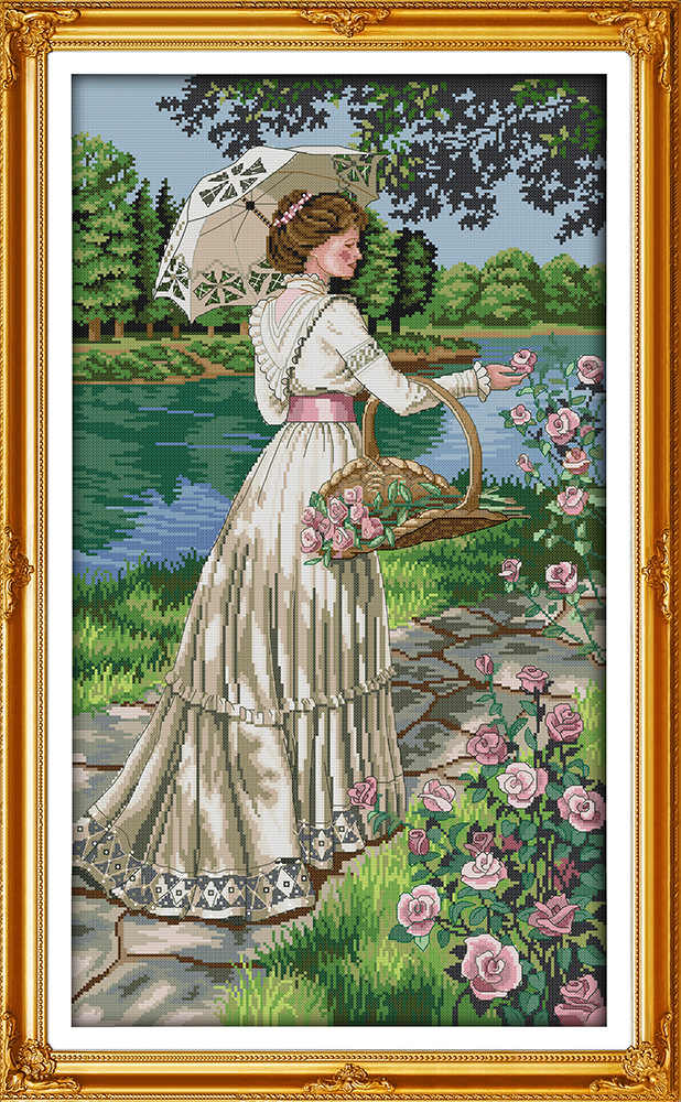 Picking flowers donna tela stampata dmc contato kit punto croce cinese stampati cross-stitch set embroidery needlework