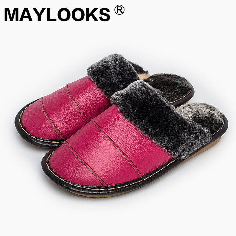 Ladies Slippers Winter Genuine Leather Thick With Plush Home Indoor Non-slip Thermal Woman Slippers 2018 New Hot Sale M-8816 plush home slippers women winter indoor shoes couple slippers men waterproof home interior non slip warmth month pu leather