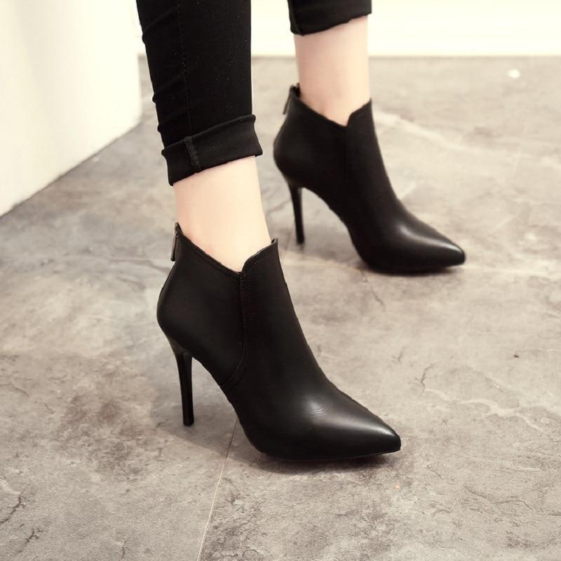 Women Boots Ankle High Heels 2017 Fashion Red Shoes Woman Platform Flock Buckle Winter Ladies Shoes Female pumps Femininas