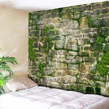 3D kamienne cegły gobelin ściany wiszące wodorosty zielony czeski tkaniny dekoracyjne gobeliny ścienne duże hipisowska mandala gobelin nowy tanie tanio Twill Drukowane Poliester bawełna Pranie ręczne Inne Można prać w pralce IKat hoME Rectangle Square Bricks Tapestry