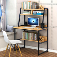Home Wood Computer Desk PC Laptop Study Table Writing Workstation Office 2 Tier Bookcase Shelves Rack