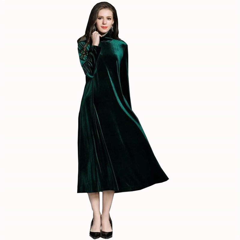 US $26.99 |Plus Size 7XL Vintage High Quality Velvet Long Sleeve Pullover  Turtleneck Dress Women Velour Femme Maxi Dresses Vestidos Black-in Dresses  ...