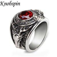Tamaño 7-11 negro/rojo/rosa de color cúbicos zirconia Vintage anillo hombres joyería de acero inoxidable moda bague hombre moda Anel masculina