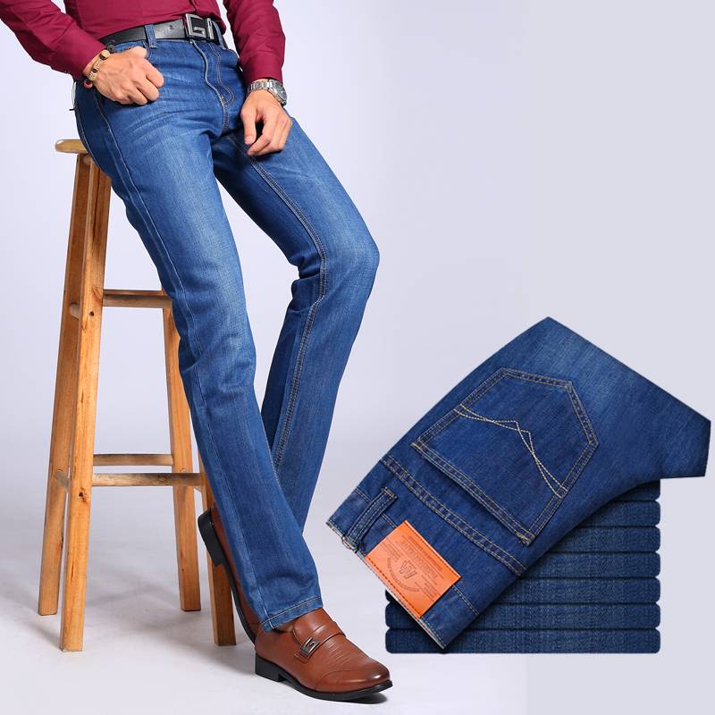 2017 Men Brand Biker Jeans Solid Cotton Men's Straight Korean Casual Long Pants Denim Trousers High Quality 2016 fashion jeans men solid casual overalls style denim pants mens biker jeans high quality famous brand straight trousers h013