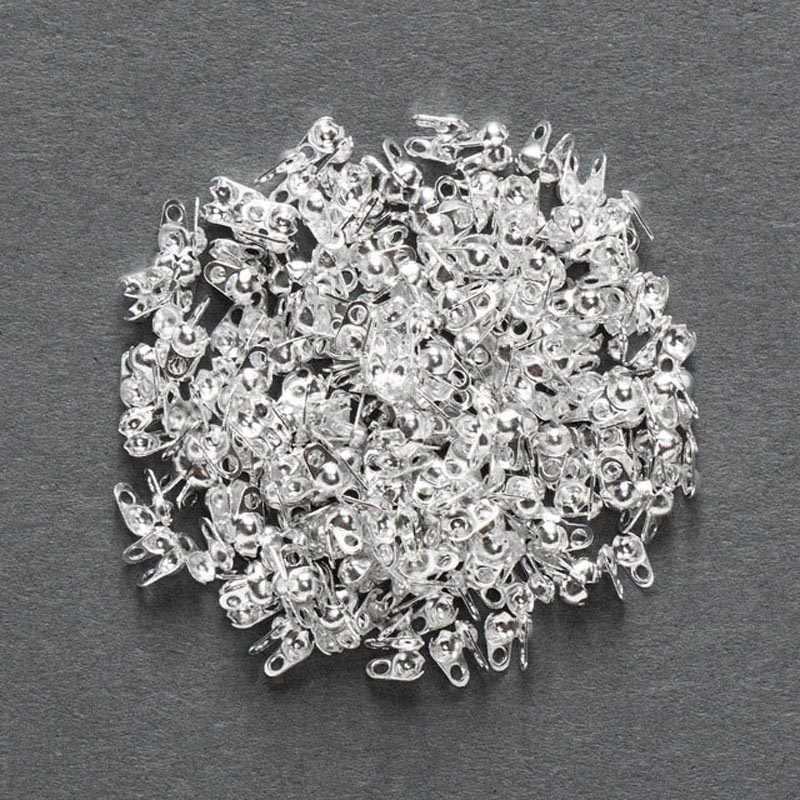 500 Calotas Fim Crimps Beads Bola Cadeia Connector Fechos pçs/lote Para DIY Descobertas Jóias Diy Fit 1.5 milímetros 2.0 milímetros 2.4 milímetros 3.2 milímetros