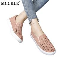 MCCKLE 2017 Fashion Women Shoes Cut Outs Flat Brand Slip On Platform Comfortable Platform Flock Woman