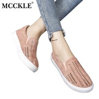 MCCKLE 2017 Fashion Women Shoes Cut Outs Flat Brand Slip On Platform Comfortable Platform Flock Woman