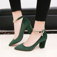 Shoes Woman 2017 New Shallow Mouth Suede With Women Shoes High Heel 34 39 Chaussure Femme