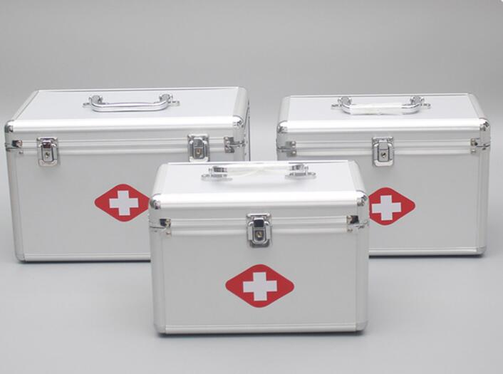Multifunctional aluminum alloy medicine box portable household medical tools double-layer outpatient first aid medicine box new gbj free shipping home aluminum medical cabinet multi layer medical treatment first aid kit medicine storage portable