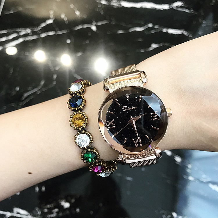 2018 Top Brand Stainless Steel Mesh Band Watches Women Luxury Starry Sky Dial Watch New Fashion Quartz Watch relojes para mujer цена