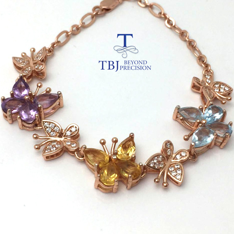 TBJ ,2017 butterfly bracelet with natural colorful gemstones bracelet in 925 sterling silver with gift box retro rhinestone rattan butterfly bracelet with ring