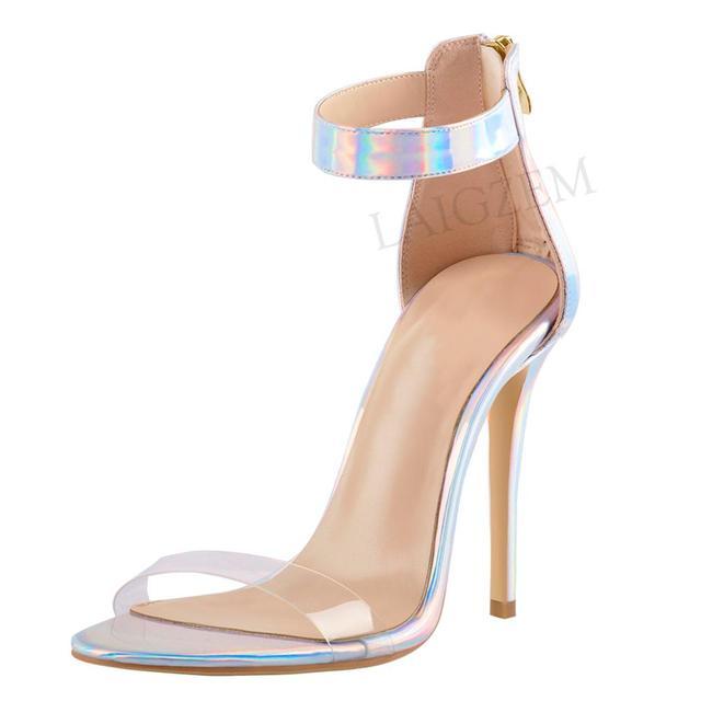 05b276e7 LAIGZEM mujeres sandalias de correa tobillo 11 13 CM Stiletto tacones  fiesta zapatos mujer Sandalia gran tamaño 34 52