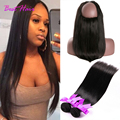 Best Pre Plucked 360 Lace Frontal With Bundle Malaysian Straight virgin Hair 360 Lace Closure 3pcs/Lot 360 Frontal With Bundles
