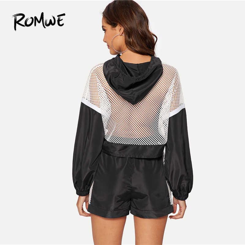 ROMWE ажурные вставки толстовка с капюшоном со шнуровкой и шорты для женщин комплект для черный, белый цвет Лето 2 шт. епископ рукав куртки шорты