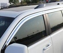 ABS Chrome plastic Window Visor Vent Shades Sun Rain Guard car accessories For Toyota Land Cruiser Prado 2010-2018 styling