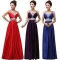 Красивая мода 2016 новых Европейских и Американских V-образным Вырезом длинное платье фиолетовый бисером вечернее платье невесты банкет тост одежды