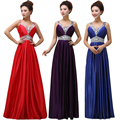 Fashion beautiful 2016 new European and American V-neck long dress purple beaded evening dress bride banquet toast clothing