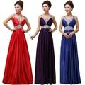 Moda bela 2016 novos Europeus e Americanos Com Decote Em V vestido longo frisado roxo vestido de noite brinde roupas vestido de noiva banquete