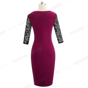 Image 2 - Nice forever Vintage Elegant Lace Patchwork Retro Square Collar vestidos Business Party Bodycon Work Office Women Dress B486