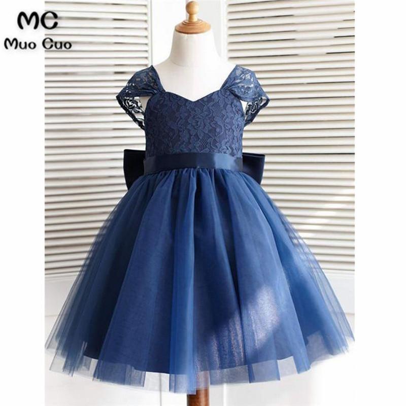 Elegant 2018 Ball Gown first communion   dresses   for   girls   Short Sleeve Lace Ribbon Navy blue   flower     girl     dresses   for weddings