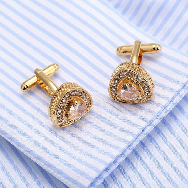High Vagula Men's Zircon Cufflink Gold Plating Shirt Cuff Links Wedding Cuffs 255