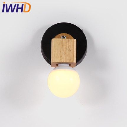 IWHD Japanese Simple Modern Wall Sconce Iron Wood LED Wall Light Fixtures Aisle Home Indoor Lighting Bedside Wall Lamp replica aj wall lamp folding iron classic bedside wall light modern led sconce lighting e27