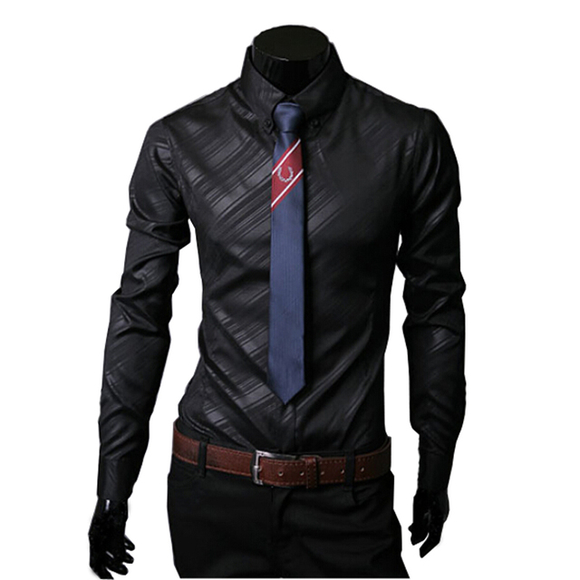 HOT Sale New 2015 High Quality Mens Designer Stripes Dress Shirts Tops Casual Slim Long Shirts 14 Color Size M-5XL Free Shipping