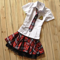 Sexy Lingerie Student Cosplay Uniform Short Sleeve Plaid Women Night Underwear Set   2017 Costumes Hot