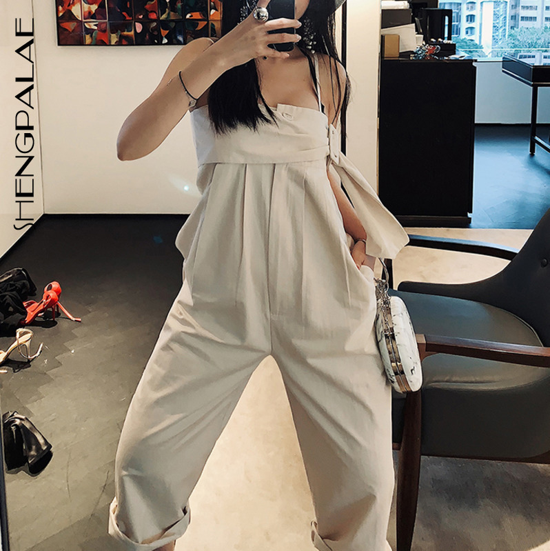 SHENGPALAE Black Camisole Style Rompers Sleveless Korean Fahsion New 2019 Summer Spring Loose Big Size Women   Jumpsuit   FN514