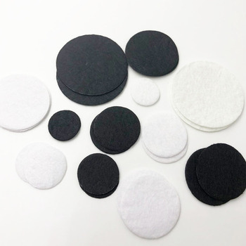 50pcs Felt 20/25/0/35/40/50mm Circle Appliques -Black and White Free Shipping cuesoul 12 black and white engraved soccer foosballs free shipping one dozen