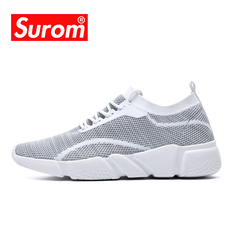 SUROM Summer Lightweight Sneakers Men Running Shoes Sport Outdoor Breathable Mesh Comfortable Athletic Male Fit Walk Shoes Adult