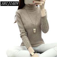 SHIJIAEN Women Turtleneck Winter Sweater Women 2018 Long Sleeve Knitted Women Sweaters And Pullovers Female Jumper