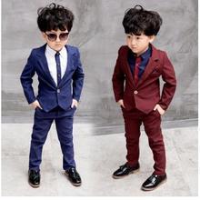 ブルー/レッド子供のスーツブレザーファッションスーツ結婚式のための服ジャケットブレザー + パンツ + シャツ 3 10Y