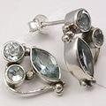 Solid Silver Beautiful BLUE Topas 3 Jewel LATEST STYLE Studs Earrings1.9 CM