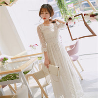 Summer White Hook Flower Long Sleeping Dress Elegant Retro Lace Nightdress Sweet Embroidery Woman Nightgowns QZ3628
