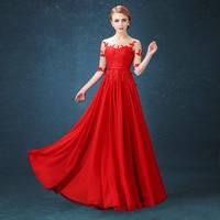 2017 new Bridesmaid Dresses plus size stock cheap sexy romantic sister simple elegant fashion lace red long chiffon half sleeve