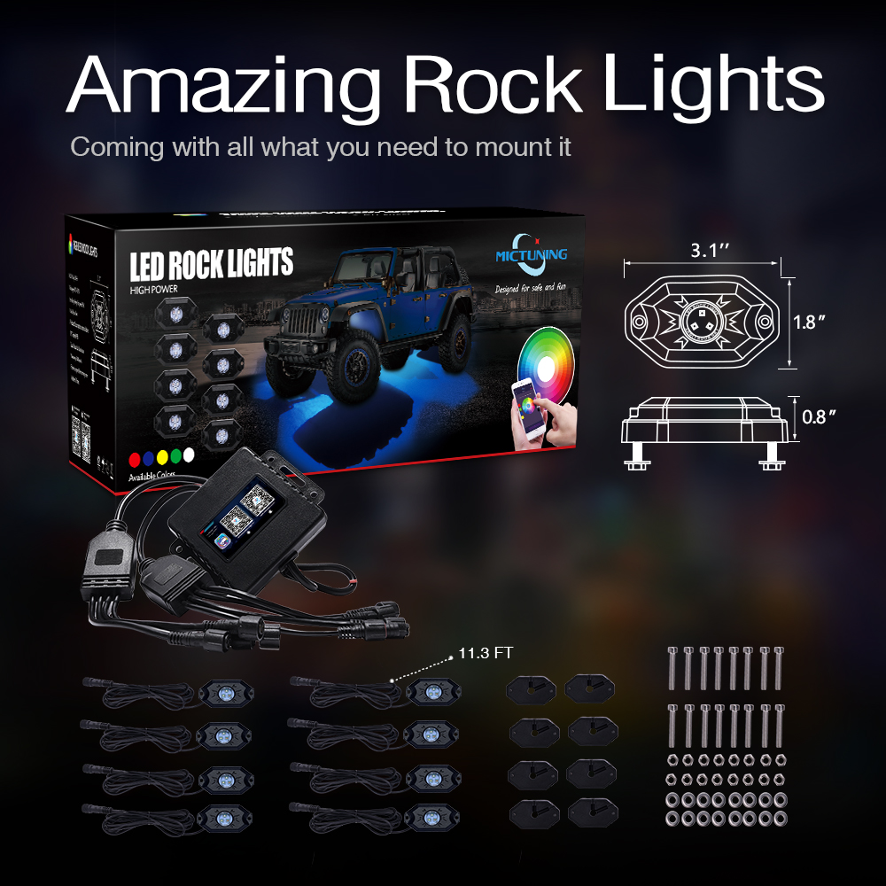Image 5 - MICTUNING 8 Pods/Set RGB LED Rock Lights Bluetooth Control Multicolor Neon LED Light Kit for Jeep Truck Car ATV SUV Vehicle Boat-in Car Light Assembly from Automobiles & Motorcycles