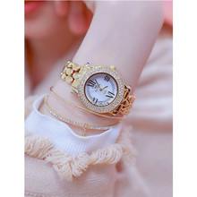 New Hot Sale Imported Quartz Movement Watch High-End Chain Linked List Custom Full Rhinestone Female