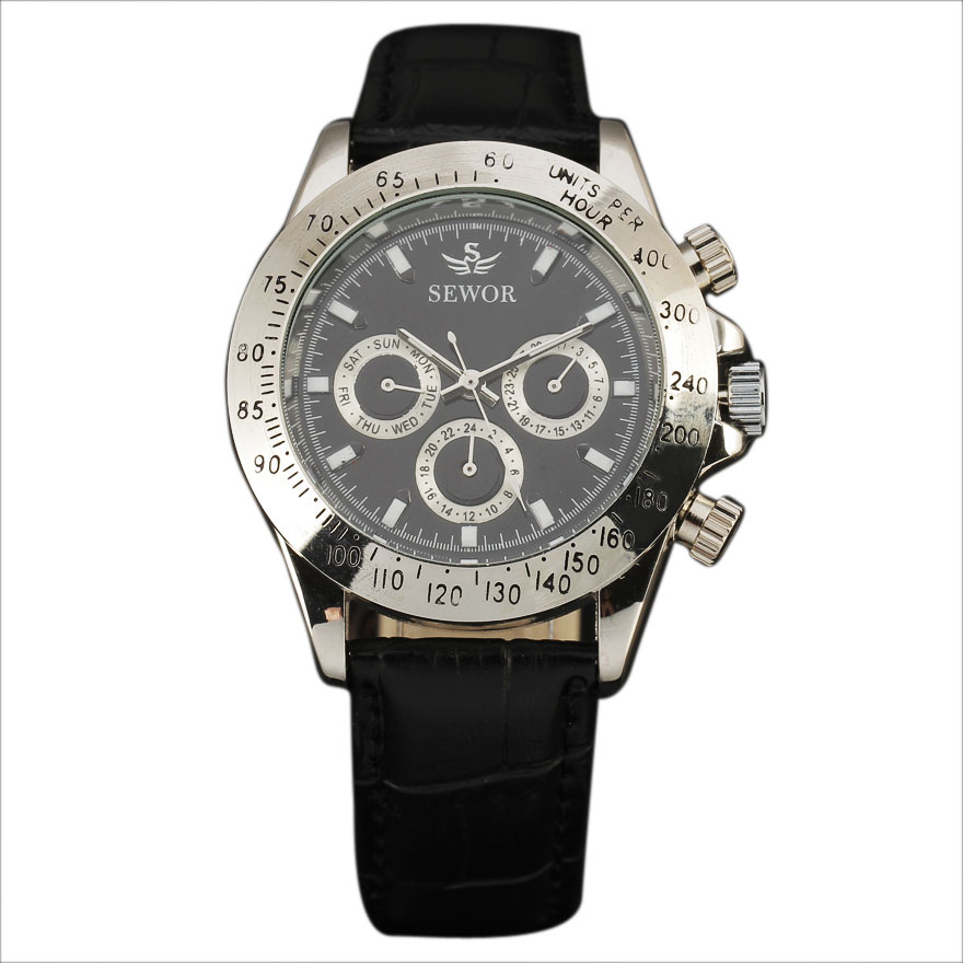 Automatic Auto Date Calendar Leather Band Clock Multi Function Chronograph Mechanical Men Military Watches