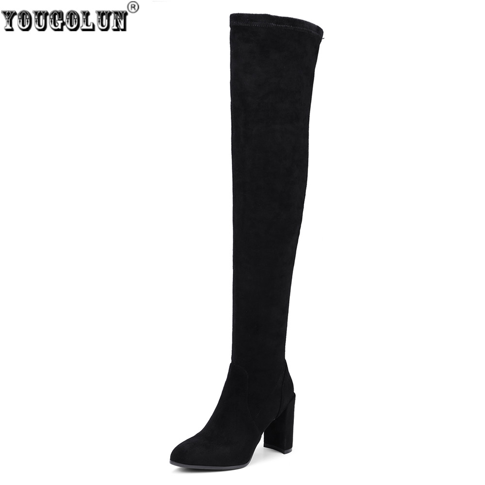 YOUGOLUN women suede stretch high heels over the knee boots woman genuine leather thigh high boots ladies autumn winter shoes цены онлайн