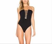 المايوه قطعة واحدة ملابس السباحة الإناث زائد حجم كبير 2018 جديد مثير الأسود الصدرية الأذن الحبل badpakken vrouwen biquini قد