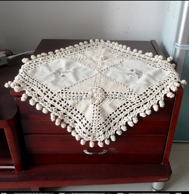 2PCS Handmade Crochet Flower Tablecloth Square Table cloth Placemat Cotton  and Satin Stitching Doilies Furniture Cover