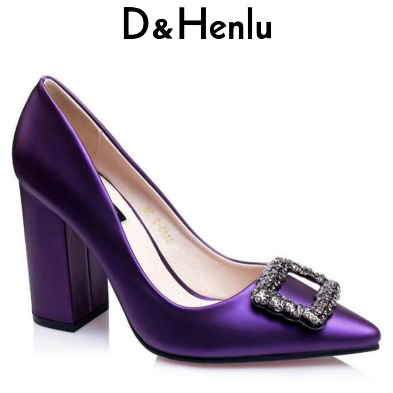 {D&Henlu} Crystal Rhinestone Pumps Square Heels Wedding Shoes High Heel Thick Heels Women Shoes Pointed Toe Pumps 2018 Sapato new arrival multi ab color wedding shoes women s pumps luxury crystal shoes pointed toe square heel sheepskin real leather shoes